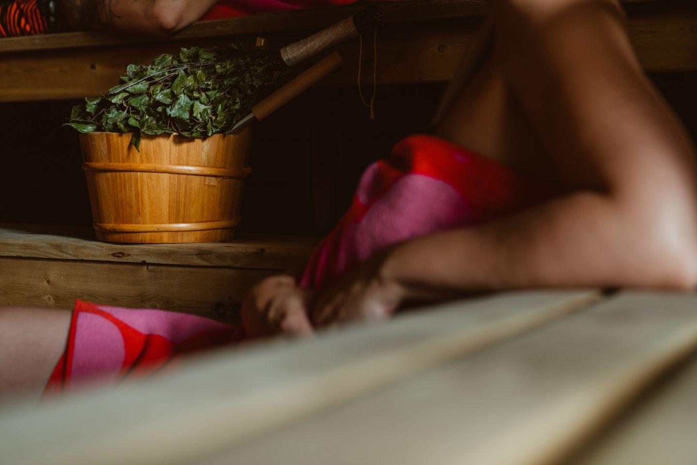 Enjoying the sauna in Rovaniemi, Finland in winter