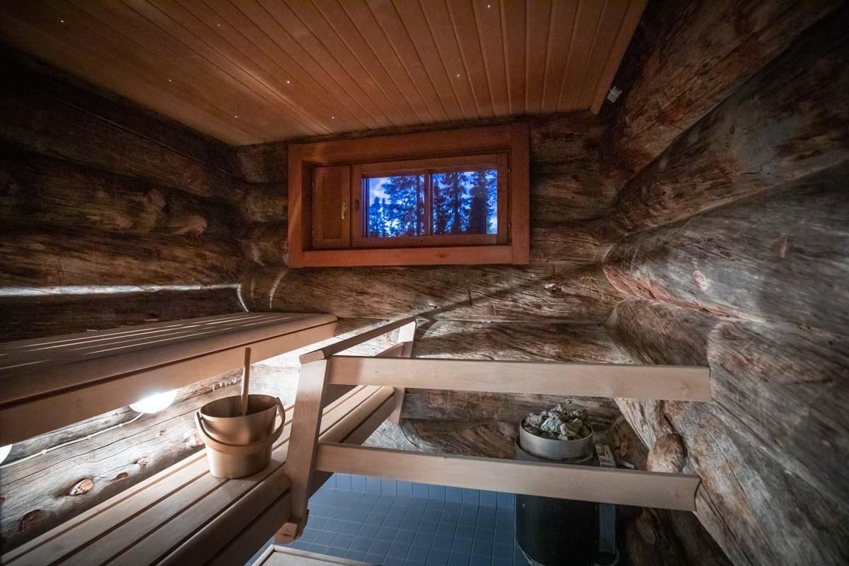 The sauna at Santa's Log Villa Borealis, a special winter accommodation in Luosto, Finland