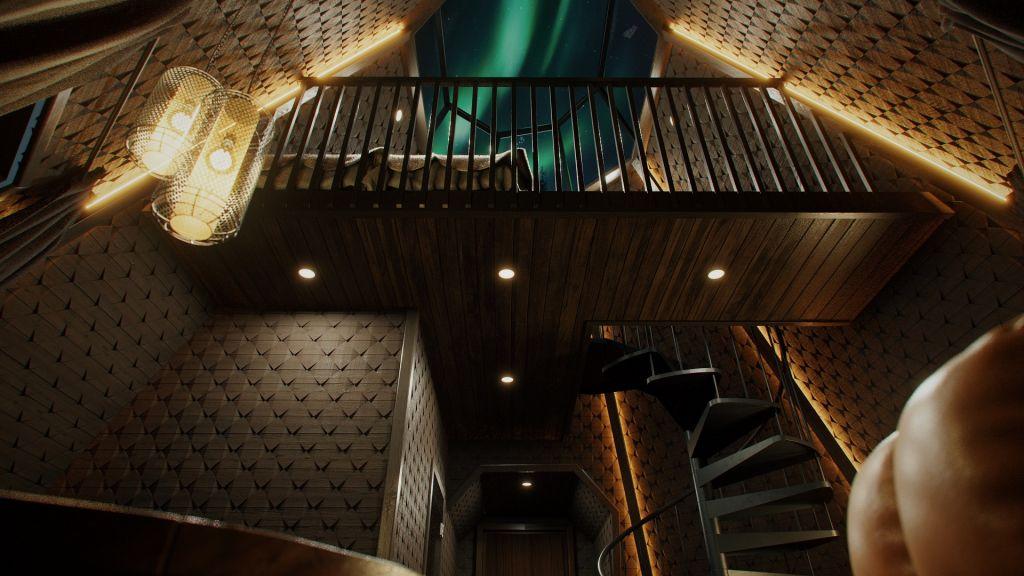 Digitaalinen kuva suunnitellun Kammi-majoituksen sisäpuolelta Apukka Resortissa, Rovaniemellä, Lapissa. Majoituksen parvelta, jossa on parivuode, näkyv revontulet kattoikkunan kautta.