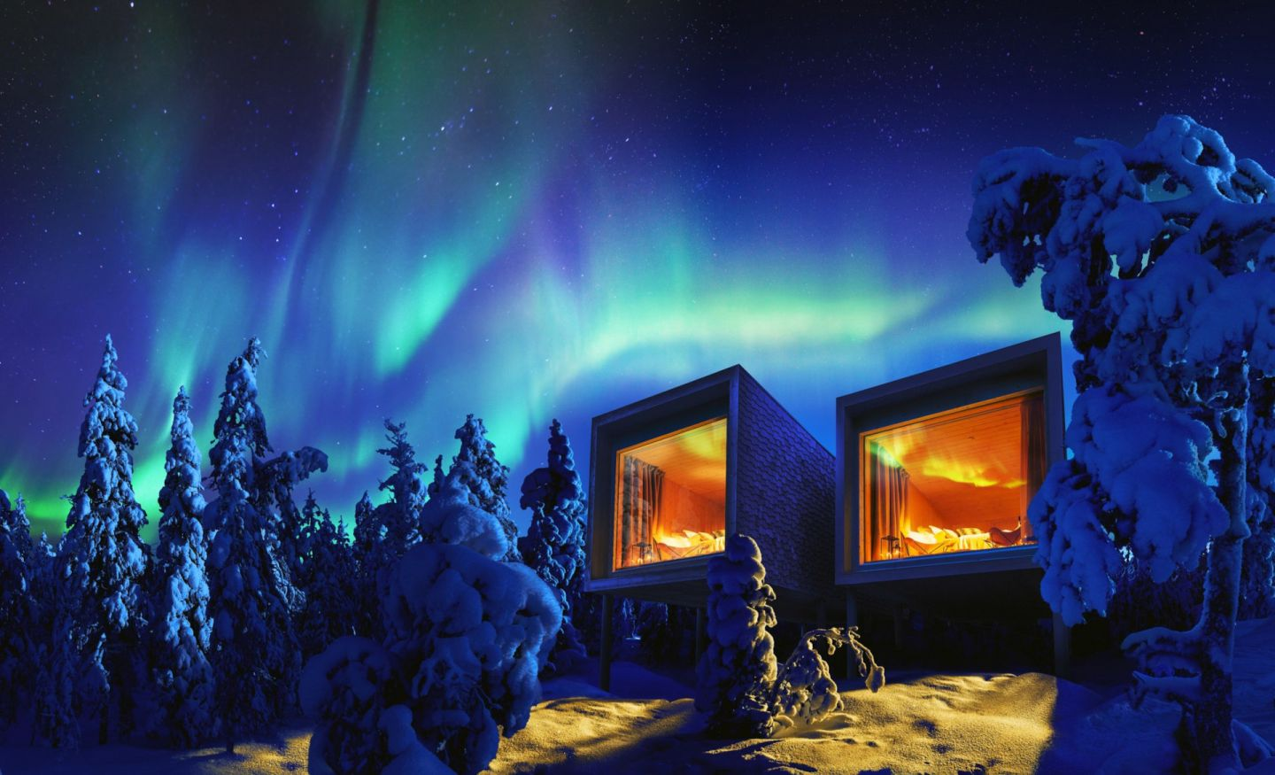 Northern Lights over the Arctic TreeHouse, a special winter accommodation in Rovaniemi, Finland