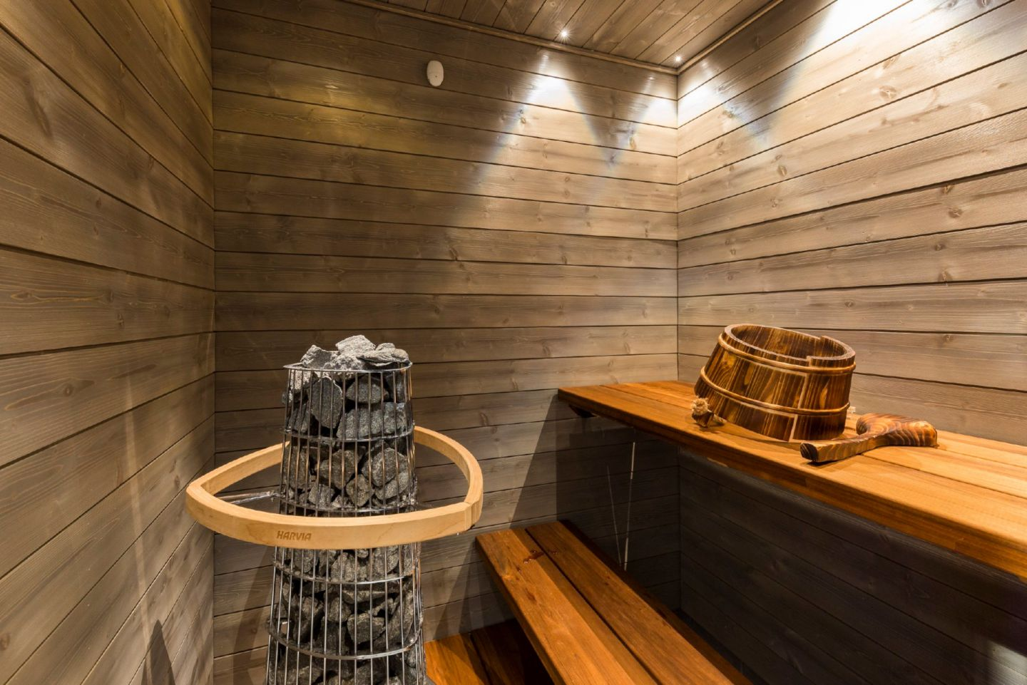 The sauna at Arctic Fox Igloos, a special winter accommodation in Finnish Lapland