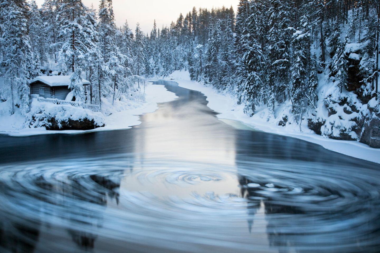 Frosty waters in Ruka-Kuusamo, Finland in winter