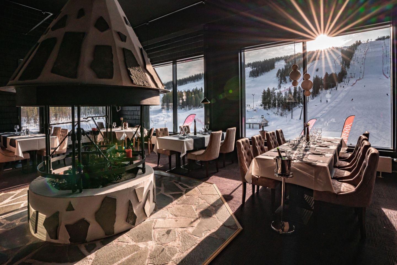 The restaurant at Hotel Suomutunturi, a special winter accommodation in Kemijärvi, Finland