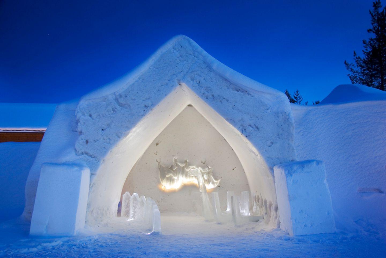 Arctic Snowhotel in Rovaniemi, Finland in winter