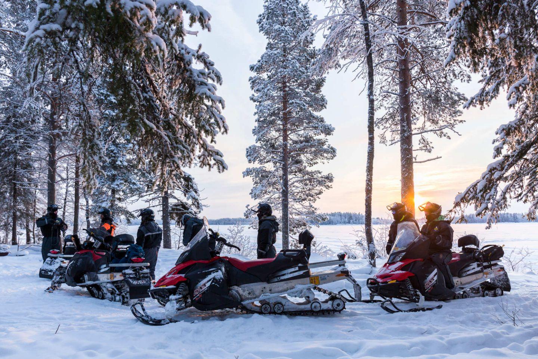 Snowmobiles in Ranua, Finland in winter