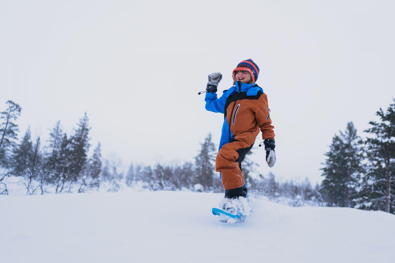 Snowshoeing in UKK national park in Finnish Lapland