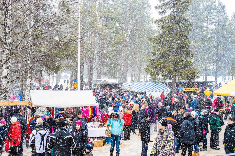 A winter market in the village of Savukoski, Finland
