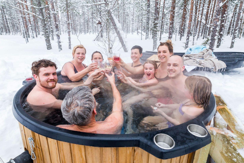 Enjoying a winter hot tub in Ranua, Finland