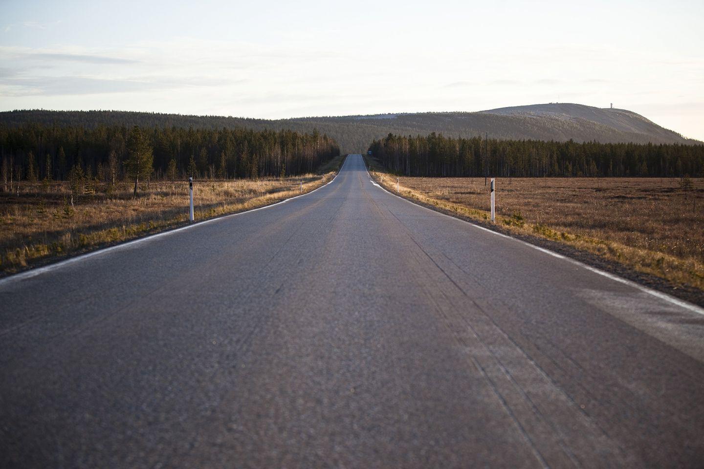 Road in Luosto, Sodankylä, Lapland, Finland