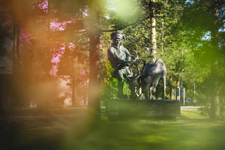 Famous reindeer statue in the town of Sodankylä, Finland