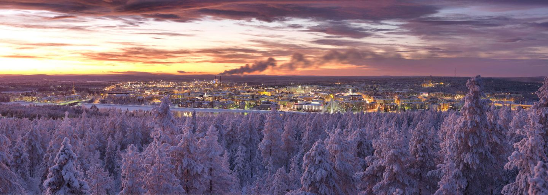 Overlooking the city of Rovaniemi, Finland in winter