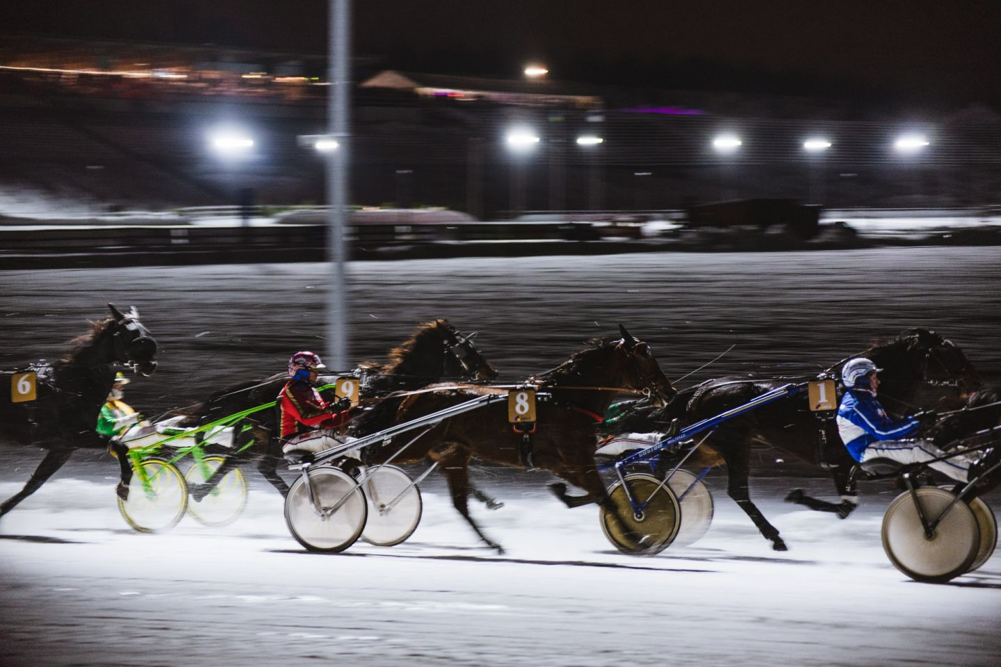 Arctic horse race in the town of Rovaniemi, Finland