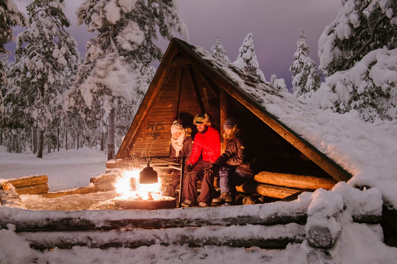 A winter campfire in Rovaniemi, Finland