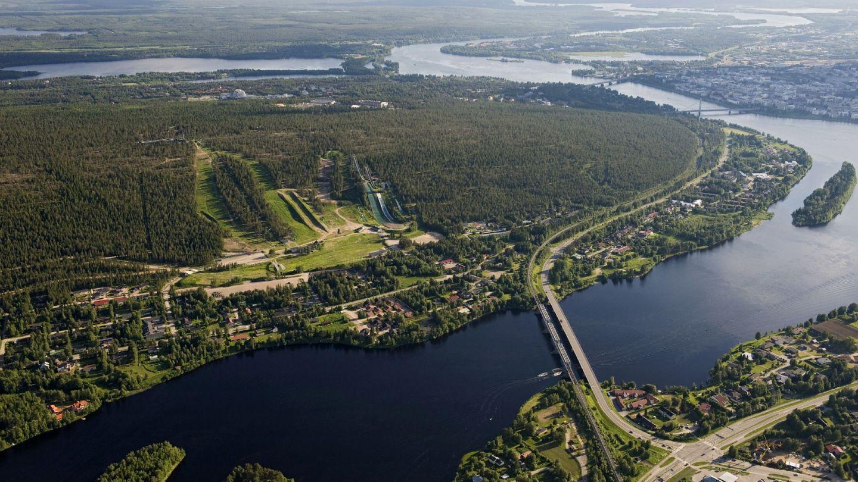 Rovaniemen Ounasvaaran alue ilmakuvassa